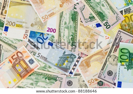 euro and dollar banknotes. money background. leading currencies - stock photo