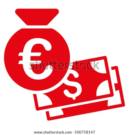Euro and Dollar Cash icon. Glyph style is flat iconic symbol, red color, white background.