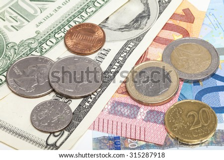 Euro and Dollar coins and banknotes