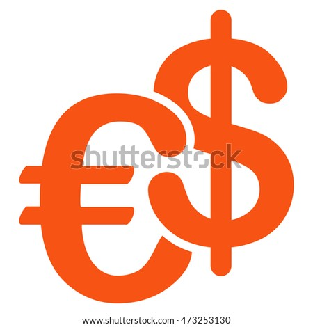 Euro and Dollar Currency icon. Glyph style is flat iconic symbol, orange color, white background.