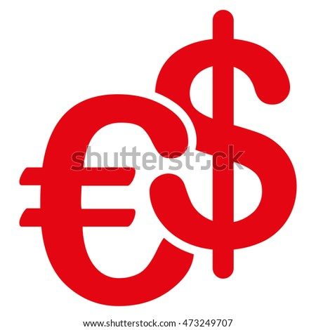 Euro and Dollar Currency icon. Glyph style is flat iconic symbol, red color, white background.