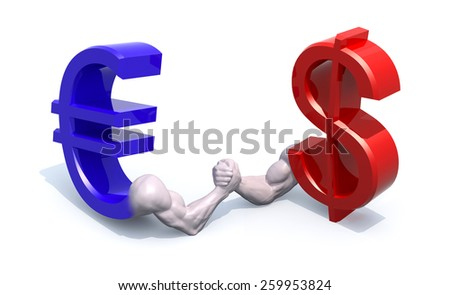 euro and dollar symbol currency make arm wrestling, 3d illustration - stock photo