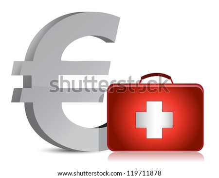 euro and medical kit illustration design over white - stock photo