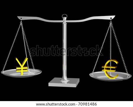 Euro and Yen on Silver balance on Black isolated background - stock photo
