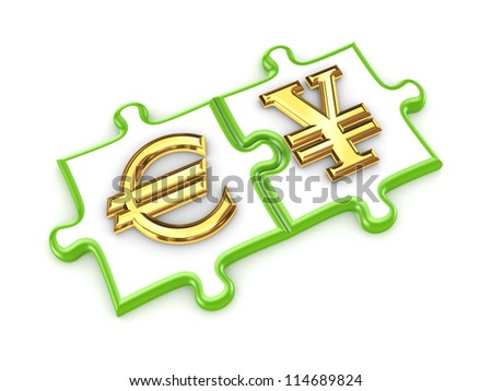 Euro and yen symbols on a puzzles.Isolated on white background.3d rendered. - stock photo