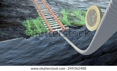 euro balance, one euro passes the cliff on a rope and goes to railway rails  - stock photo