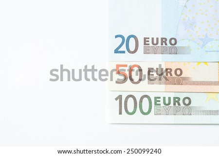 euro bank note on white background. - stock photo