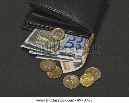 Euro bank notes and coins and a black leather wallet