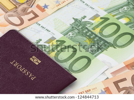 Euro banknote and Passport