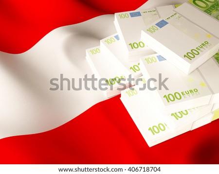 Euro banknote bundles on textile textured Austria flag. 3d illustration. - stock photo