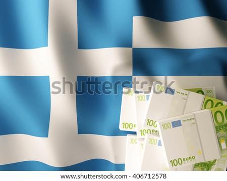 Euro banknote bundles on textile textured Greece flag. 3d illustration. - stock photo