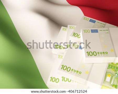 Euro banknote bundles on textile textured Italy flag. 3d illustration. - stock photo