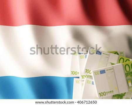 Euro banknote bundles on textile textured Netherlands flag. 3d illustration. - stock photo