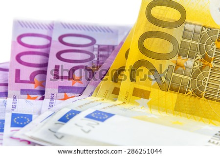 euro banknote from 200 and 500 in white background