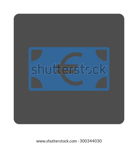 Euro Banknote icon. This flat rounded square button uses cobalt and gray colors and isolated on a white background.