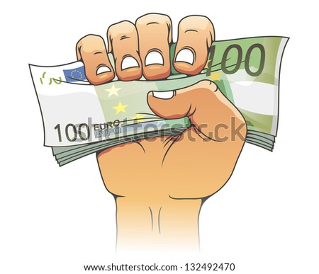 Euro banknote in people hand for finance concept. Vector version also available in gallery - stock photo