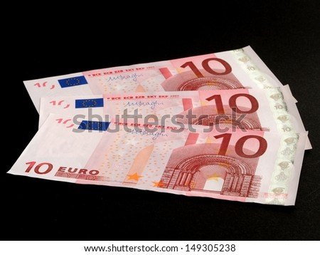 Euro banknote isolated on black background
