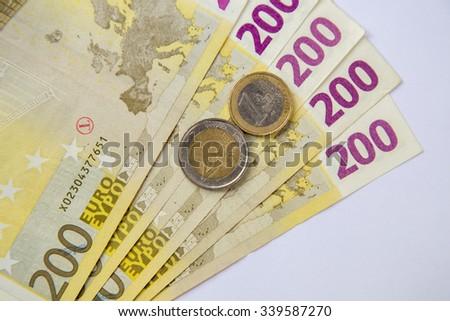 euro banknote on a white background - stock photo