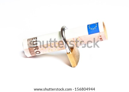 euro banknote with lock security. Money for safety and investment. - stock photo