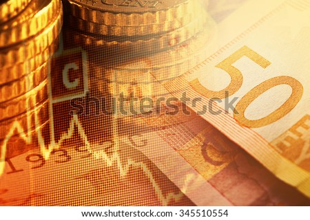 Euro banknotes and coins. Finance system concept.