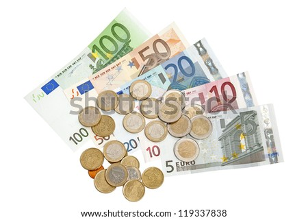 Euro banknotes and coins isolated on white background