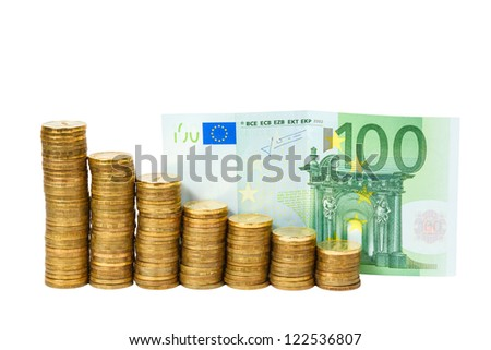 euro banknotes and coins on white background
