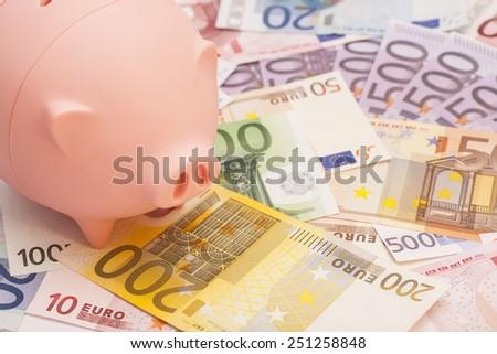 Euro banknotes and piggy bank - stock photo