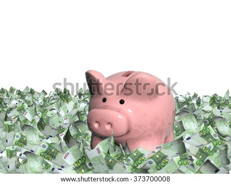 Euro banknotes and piggy bank. Isolated on white background