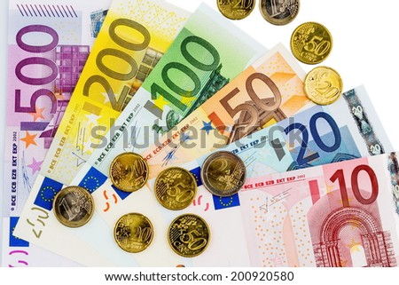 euro banknotes are adjacent. symbolic photo for profits, revenue and money - stock photo