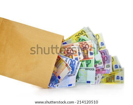 Euro banknotes coming out of a paper bag on white background - stock photo