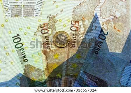 Euro banknotes, 1 euro and graph - finance concept - stock photo