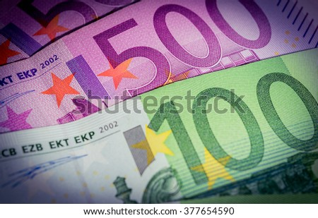 Euro banknotes. 500 euro banknotes and 100 euro banknotes (vignette). - stock photo