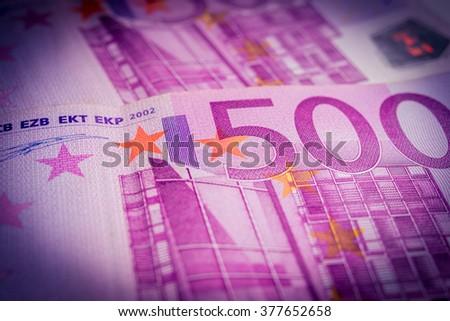 Euro banknotes. 500 euro banknotes (vignette). - stock photo