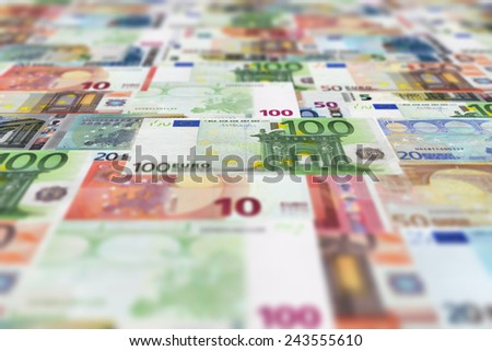 Euro banknotes floor background. The currency, money wallpaper. - stock photo
