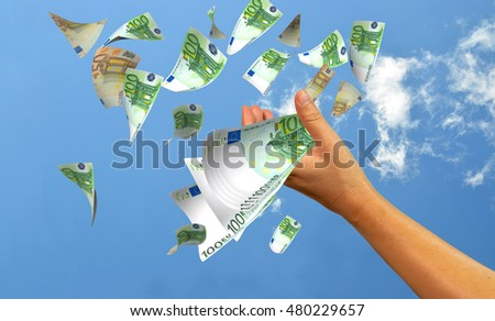 euro banknotes flying - 3d rendering
