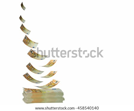 euro banknotes flying, for background, 3d rendering - stock photo