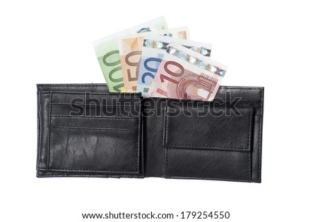 Euro banknotes in a black leather wallet on white background - stock photo