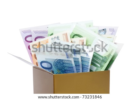 Euro banknotes in a box isolated on white