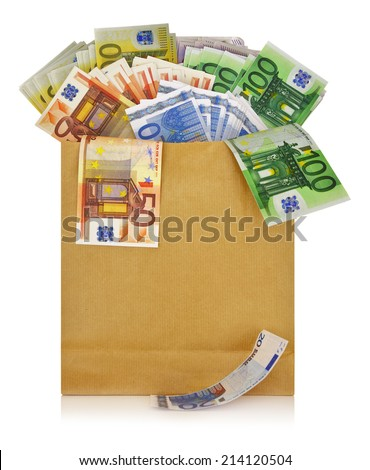 Euro banknotes in a shopping bag on white background - stock photo