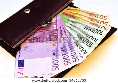 Euro banknotes in a wallet, different values, cash