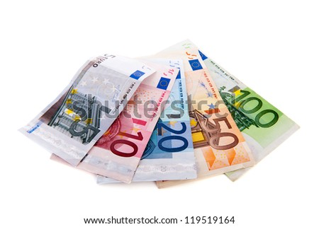 euro banknotes in different values isolated over white background
