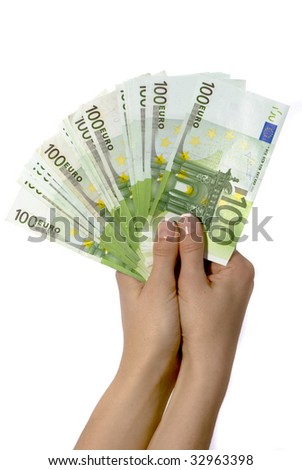 Euro banknotes in woman hand