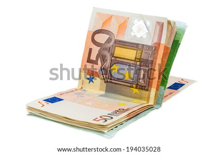 Euro banknotes isolated on white background with clipping path