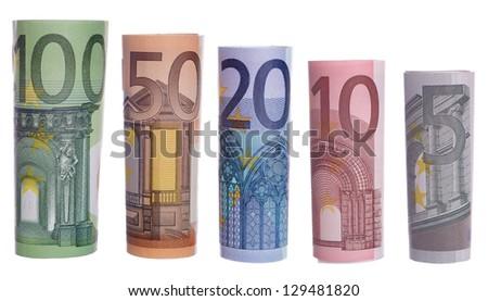 Euro banknotes isolated over a white background / euro money - stock photo