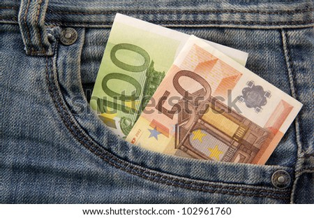 Euro banknotes jeans pocket - stock photo