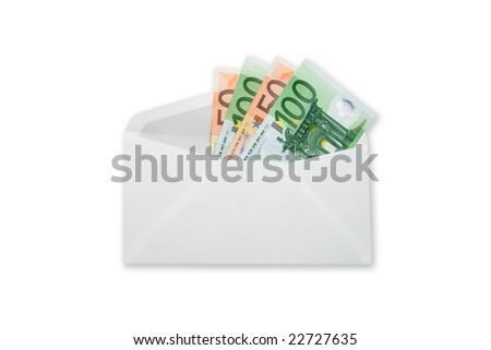 Euro banknotes money  in envelope