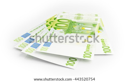 Euro banknotes on white background. 3d rendering - stock photo