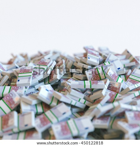 Euro banknotes pile. Business motivation. 3d render - stock photo