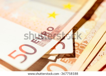 Euro banknotes stacked by value. Euro money concept