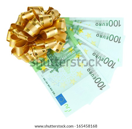 Euro banknotes with bow isolated on white - stock photo